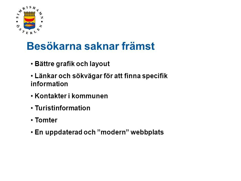 • Bättre grafik och layout • Länkar och sökvägar för att finna specifik information • Kontakter i kommunen • Turistinformation • Tomter • En uppdatera