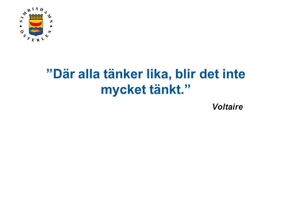 """""""Där alla tänker lika, blir det inte mycket tänkt."""" Voltaire"""