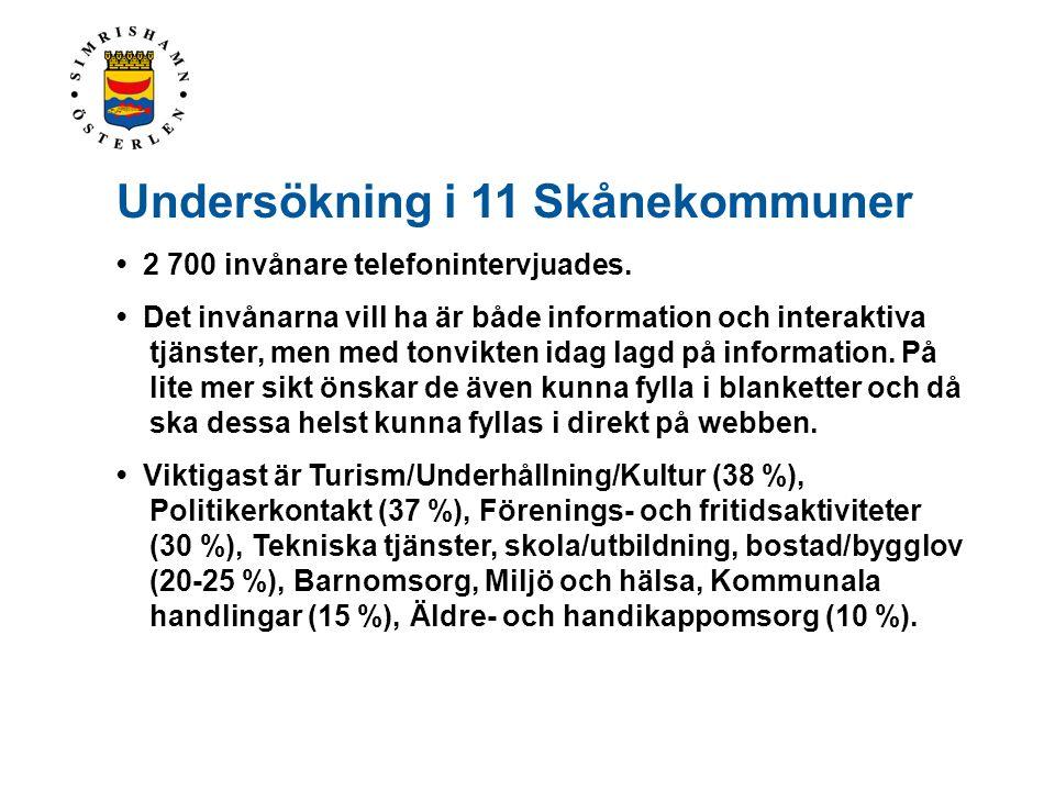Undersökning i 11 Skånekommuner • 2 700 invånare telefonintervjuades. • Det invånarna vill ha är både information och interaktiva tjänster, men med to