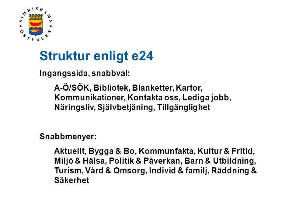 Struktur enligt e24 Ingångssida, snabbval: A-Ö/SÖK, Bibliotek, Blanketter, Kartor, Kommunikationer, Kontakta oss, Lediga jobb, Näringsliv, Självbetjän