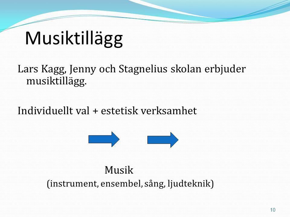 10 Musiktillägg Lars Kagg, Jenny och Stagnelius skolan erbjuder musiktillägg.