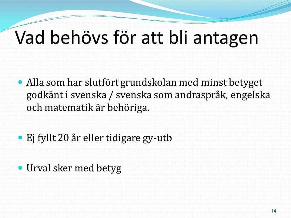 14 Vad behövs för att bli antagen  Alla som har slutfört grundskolan med minst betyget godkänt i svenska / svenska som andraspråk, engelska och matematik är behöriga.