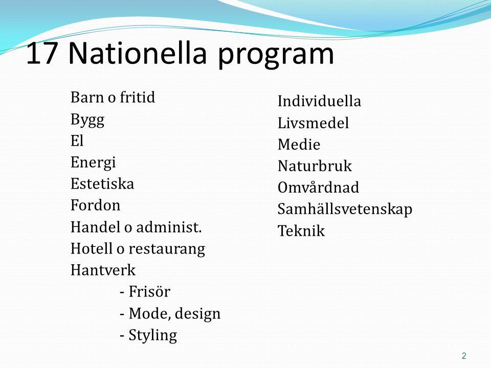 2 17 Nationella program Barn o fritid Bygg El Energi Estetiska Fordon Handel o administ.