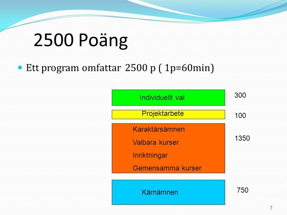 7 2500 Poäng  Ett program omfattar 2500 p ( 1p=60min) Projektarbete Individuellt val Karaktärsämnen Valbara kurser Inriktningar Gemensamma kurser Kärnämnen 750 1350 100 300