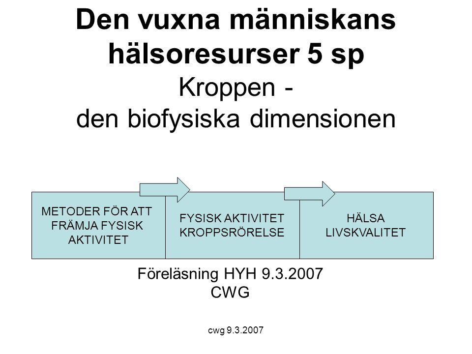 cwg 9.3.2007 Den vuxna människans hälsoresurser 5 sp Kroppen - den biofysiska dimensionen Föreläsning HYH 9.3.2007 CWG FYSISK AKTIVITET KROPPSRÖRELSE HÄLSA LIVSKVALITET METODER FÖR ATT FRÄMJA FYSISK AKTIVITET