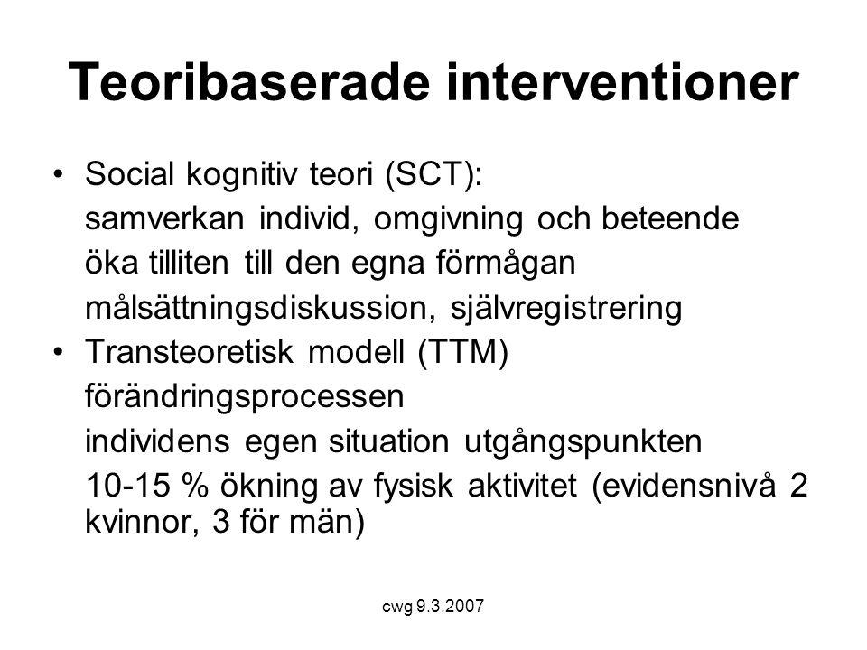 cwg 9.3.2007 Teoribaserade interventioner •Social kognitiv teori (SCT): samverkan individ, omgivning och beteende öka tilliten till den egna förmågan målsättningsdiskussion, självregistrering •Transteoretisk modell (TTM) förändringsprocessen individens egen situation utgångspunkten 10-15 % ökning av fysisk aktivitet (evidensnivå 2 kvinnor, 3 för män)