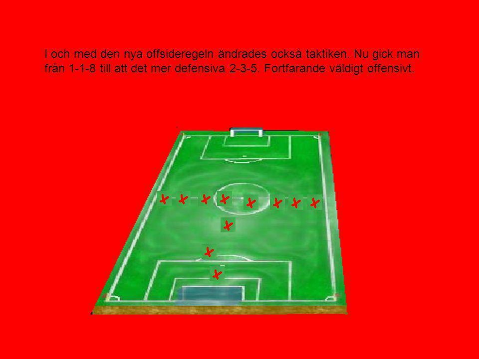 Offsideregeln ändrades redan 1868. En spelare var nu inte offside om han befann sig på egen planhalva eller om han hade tre motståndare mellan sig och