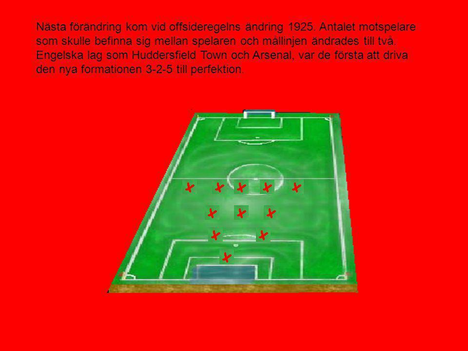 I och med den nya offsideregeln ändrades också taktiken. Nu gick man från 1-1-8 till att det mer defensiva 2-3-5. Fortfarande väldigt offensivt.