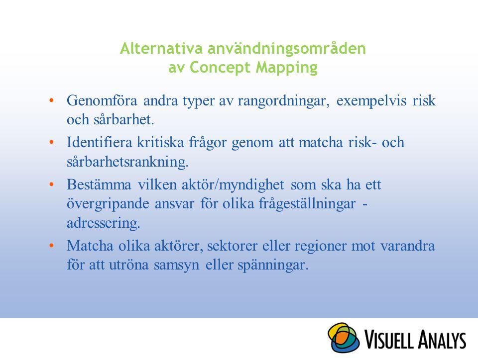 Alternativa användningsområden av Concept Mapping •Genomföra andra typer av rangordningar, exempelvis risk och sårbarhet. •Identifiera kritiska frågor