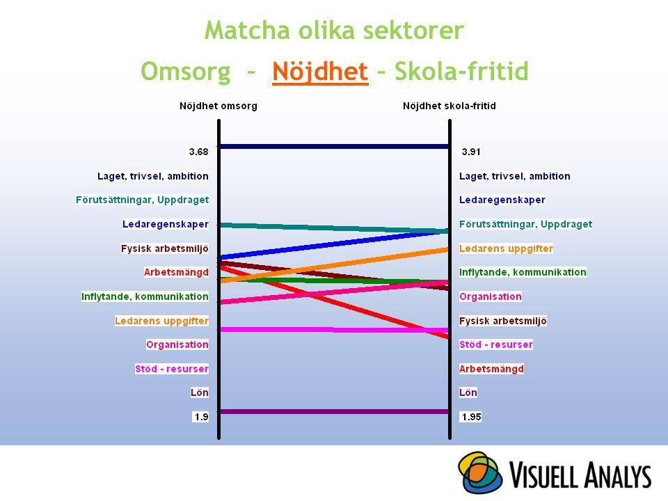Matcha olika sektorer Omsorg – Nöjdhet – Skola-fritid