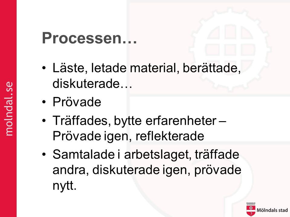 molndal.se Processen… •Läste, letade material, berättade, diskuterade… •Prövade •Träffades, bytte erfarenheter – Prövade igen, reflekterade •Samtalade i arbetslaget, träffade andra, diskuterade igen, prövade nytt.
