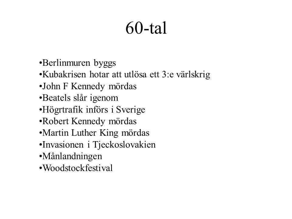 60-tal •Berlinmuren byggs •Kubakrisen hotar att utlösa ett 3:e värlskrig •John F Kennedy mördas •Beatels slår igenom •Högrtrafik införs i Sverige •Rob