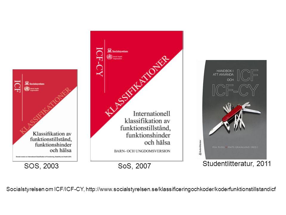 Socialstyrelsen om ICF/ICF-CY, http://www.socialstyrelsen.se/klassificeringochkoder/koderfunktionstillstandicf Studentlitteratur, 2011 SOS, 2003SoS, 2007