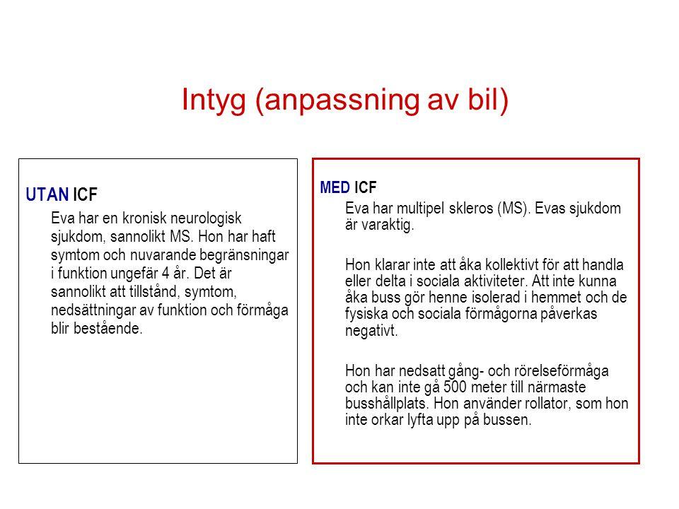 Intyg (anpassning av bil) UTAN ICF Eva har en kronisk neurologisk sjukdom, sannolikt MS.