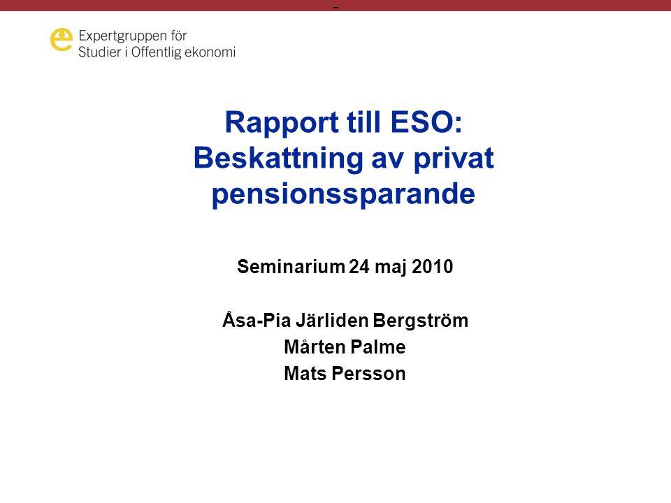 - Rapport till ESO: Beskattning av privat pensionssparande Seminarium 24 maj 2010 Åsa-Pia Järliden Bergström Mårten Palme Mats Persson