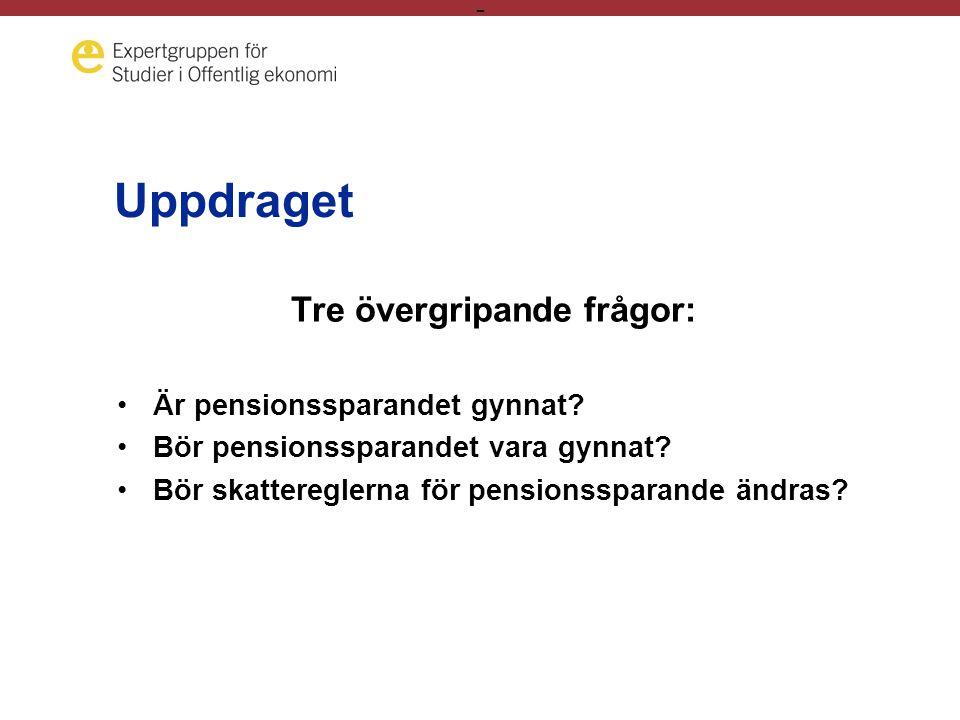 - Uppdraget Tre övergripande frågor: •Är pensionssparandet gynnat.