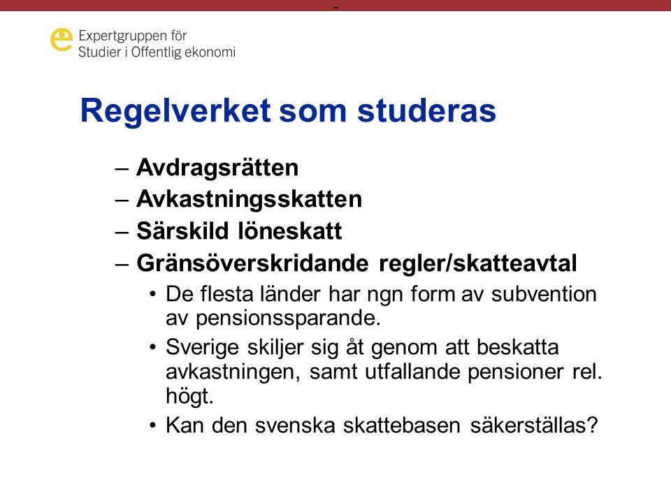 - Regelverket som studeras –Avdragsrätten –Avkastningsskatten –Särskild löneskatt –Gränsöverskridande regler/skatteavtal •De flesta länder har ngn form av subvention av pensionssparande.