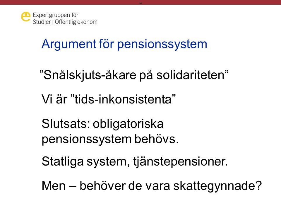 - Argument för pensionssystem Snålskjuts-åkare på solidariteten Vi är tids-inkonsistenta Slutsats: obligatoriska pensionssystem behövs.