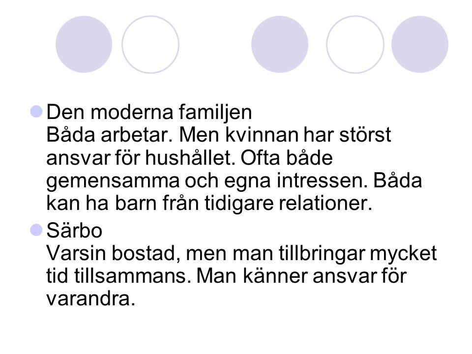  Den moderna familjen Båda arbetar. Men kvinnan har störst ansvar för hushållet. Ofta både gemensamma och egna intressen. Båda kan ha barn från tidig