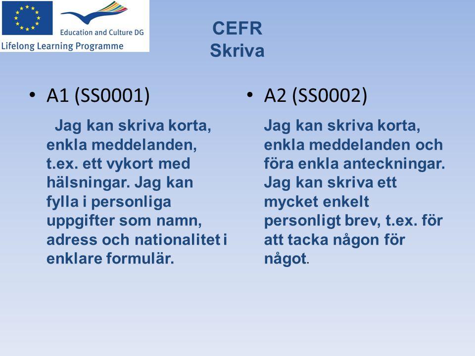 CEFR Skriva • A1 (SS0001) Jag kan skriva korta, enkla meddelanden, t.ex. ett vykort med hälsningar. Jag kan fylla i personliga uppgifter som namn, adr