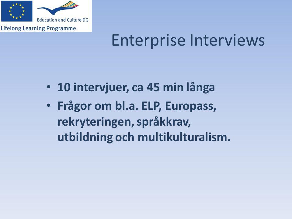 Enterprise Interviews • 10 intervjuer, ca 45 min långa • Frågor om bl.a. ELP, Europass, rekryteringen, språkkrav, utbildning och multikulturalism.