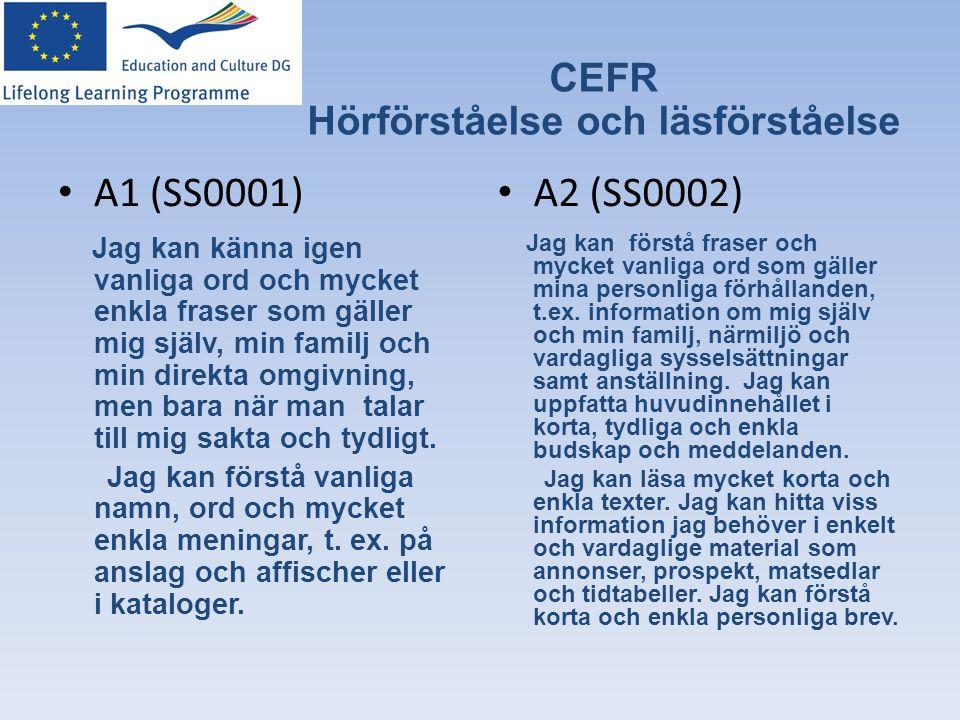 CEFR Hörförståelse och läsförståelse • A1 (SS0001) Jag kan känna igen vanliga ord och mycket enkla fraser som gäller mig själv, min familj och min dir