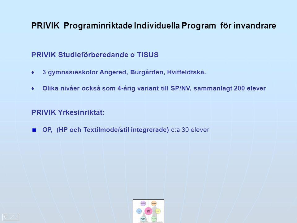 PRIVIK Programinriktade Individuella Program för invandrare PRIVIK Studieförberedande o TISUS  3 gymnasieskolor Angered, Burgården, Hvitfeldtska.  O