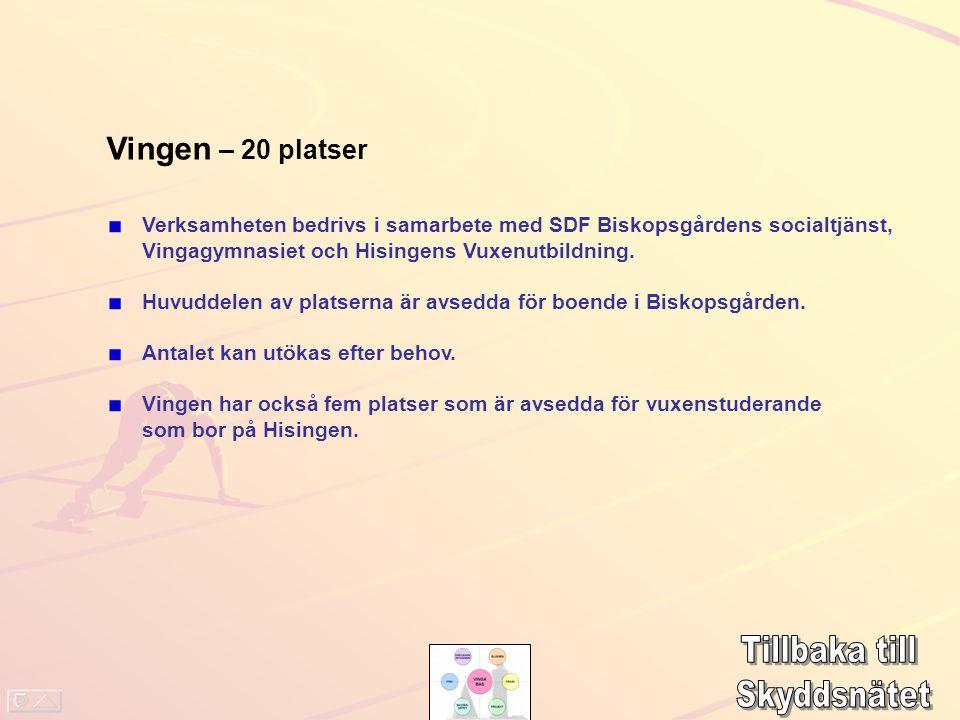 Vingen – 20 platser Verksamheten bedrivs i samarbete med SDF Biskopsgårdens socialtjänst, Vingagymnasiet och Hisingens Vuxenutbildning. Huvuddelen av