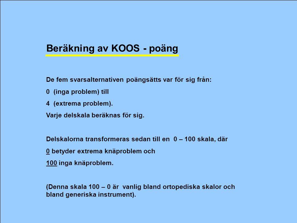 Beräkning av KOOS - poäng De fem svarsalternativen poängsätts var för sig från: 0 (inga problem) till 4 (extrema problem).