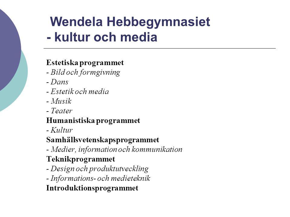 Wendela Hebbegymnasiet - kultur och media Estetiska programmet - Bild och formgivning - Dans - Estetik och media - Musik - Teater Humanistiska programmet - Kultur Samhällsvetenskapsprogrammet - Medier, information och kommunikation Teknikprogrammet - Design och produktutveckling - Informations- och medieteknik Introduktionsprogrammet