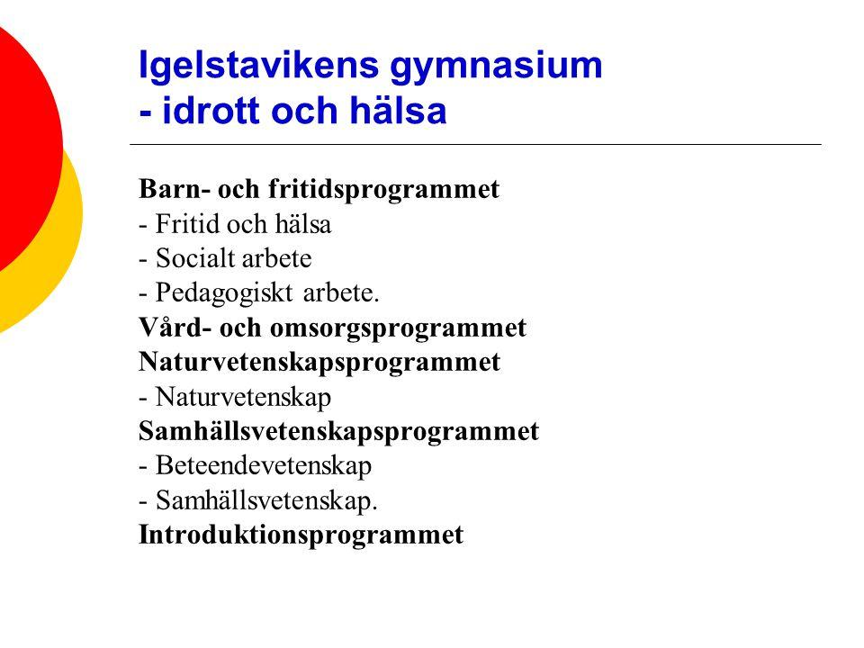 Igelstavikens gymnasium - idrott och hälsa Barn- och fritidsprogrammet - Fritid och hälsa - Socialt arbete - Pedagogiskt arbete.