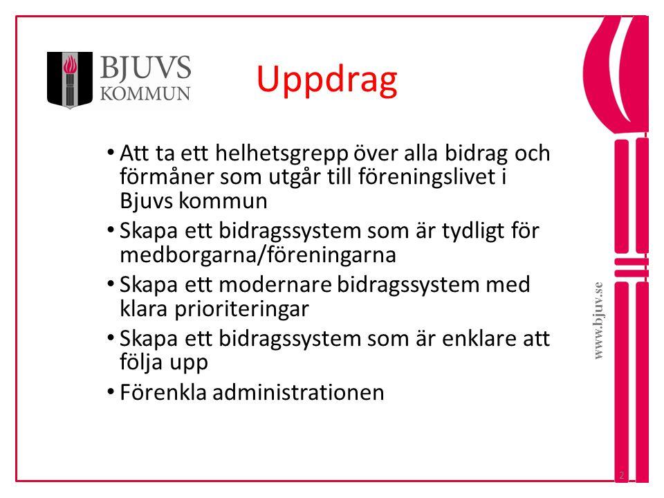 www.bjuv.se Inriktning och prioritering • Prioriterade föreningar skall ha aktiviteter för barn och unga.