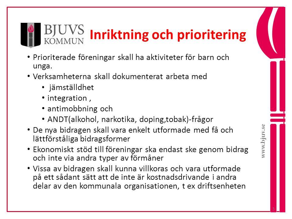 www.bjuv.se Inriktning och prioritering • Prioriterade föreningar skall ha aktiviteter för barn och unga. • Verksamheterna skall dokumenterat arbeta m
