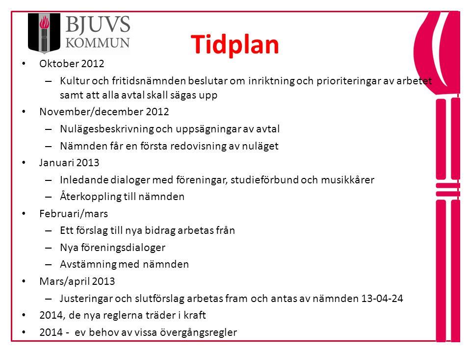 Tidplan 4 • Oktober 2012 – Kultur och fritidsnämnden beslutar om inriktning och prioriteringar av arbetet samt att alla avtal skall sägas upp • Novemb
