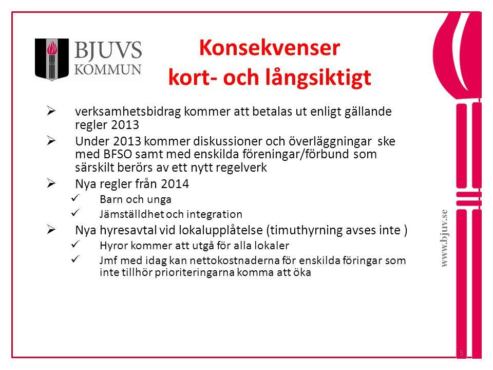 www.bjuv.se Konsekvenser kort- och långsiktigt  verksamhetsbidrag kommer att betalas ut enligt gällande regler 2013  Under 2013 kommer diskussioner
