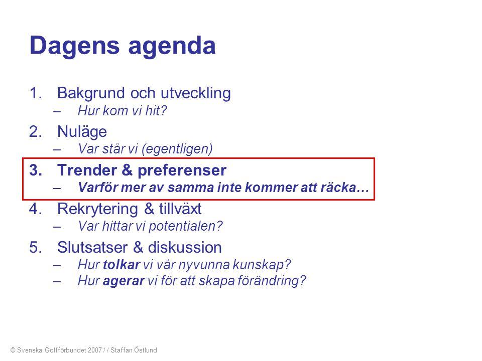 Dagens agenda 1.Bakgrund och utveckling –Hur kom vi hit? 2.Nuläge –Var står vi (egentligen) 3.Trender & preferenser –Varför mer av samma inte kommer a