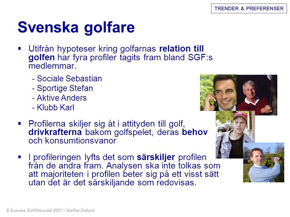 Svenska golfare  Utifrån hypoteser kring golfarnas relation till golfen har fyra profiler tagits fram bland SGF:s medlemmar. - Sociale Sebastian - Sp