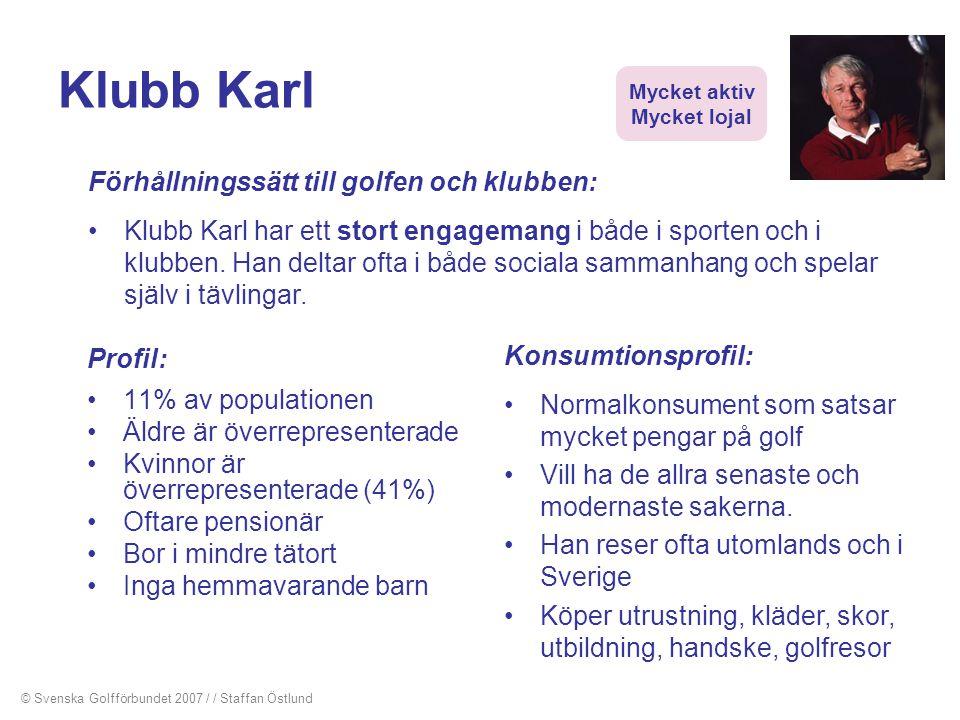 Klubb Karl Profil: •11% av populationen •Äldre är överrepresenterade •Kvinnor är överrepresenterade (41%) •Oftare pensionär •Bor i mindre tätort •Inga