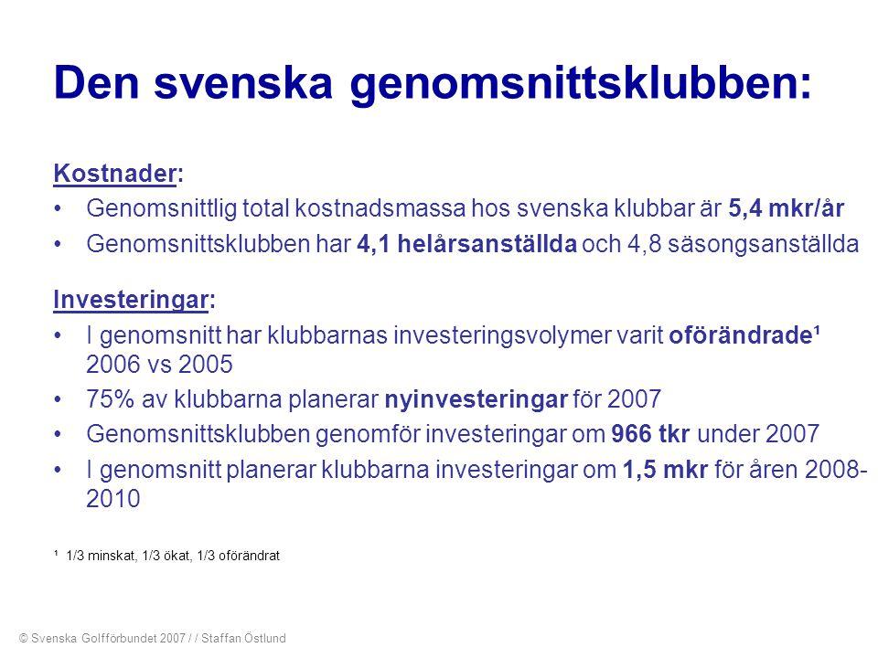 Den svenska genomsnittsklubben: Kostnader: •Genomsnittlig total kostnadsmassa hos svenska klubbar är 5,4 mkr/år •Genomsnittsklubben har 4,1 helårsanst