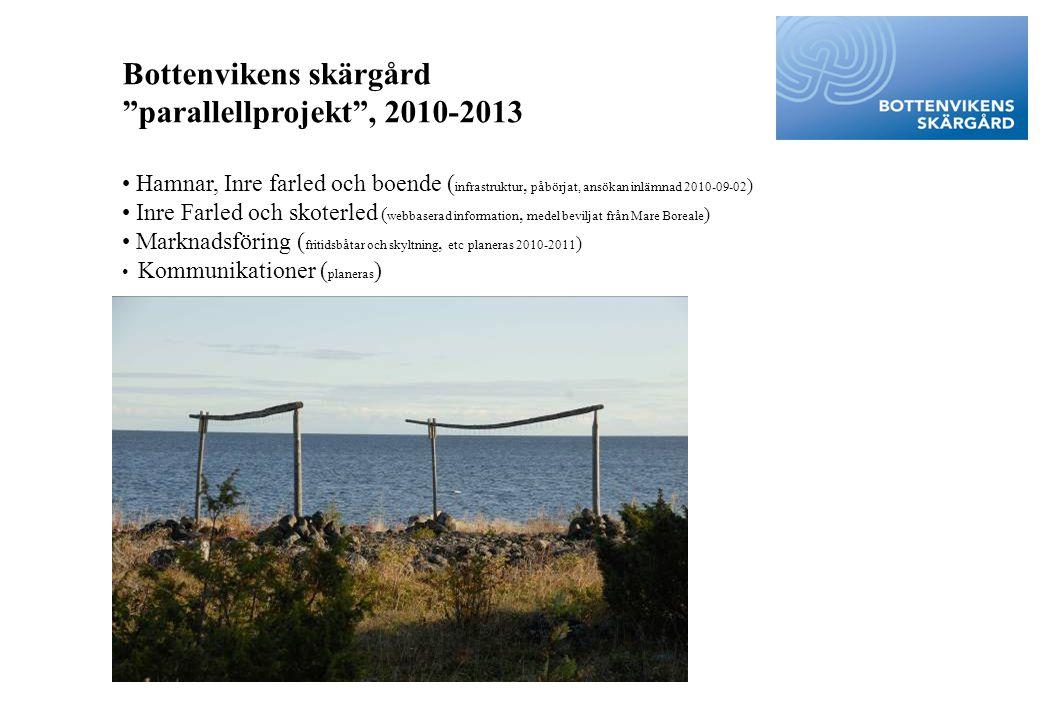 """Bottenvikens skärgård """"parallellprojekt"""", 2010-2013 • Hamnar, Inre farled och boende ( infrastruktur, påbörjat, ansökan inlämnad 2010-09-02 ) • Inre F"""