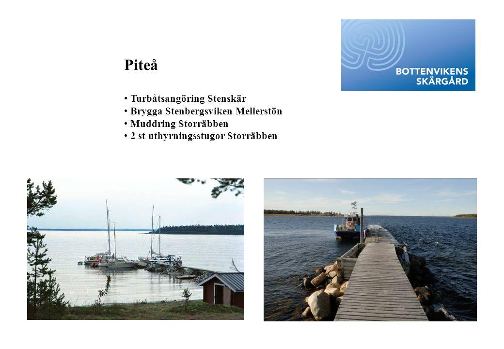 Piteå • Turbåtsangöring Stenskär • Brygga Stenbergsviken Mellerstön • Muddring Storräbben • 2 st uthyrningsstugor Storräbben