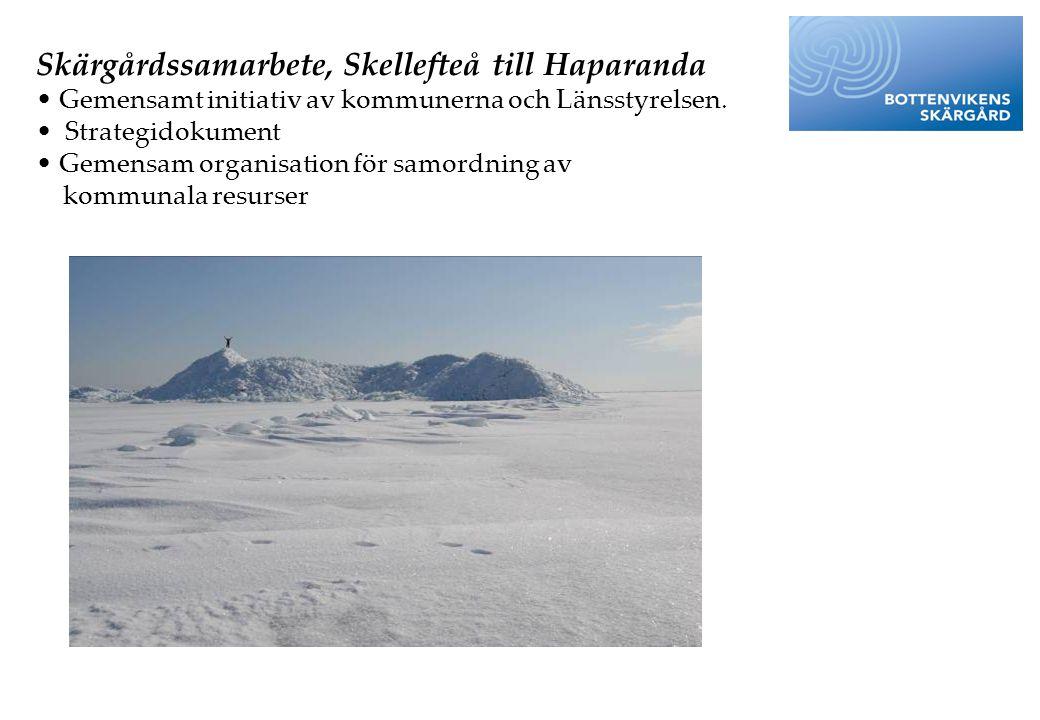 Skärgårdssamarbete, Skellefteå till Haparanda • Gemensamt initiativ av kommunerna och Länsstyrelsen. • Strategidokument • Gemensam organisation för sa