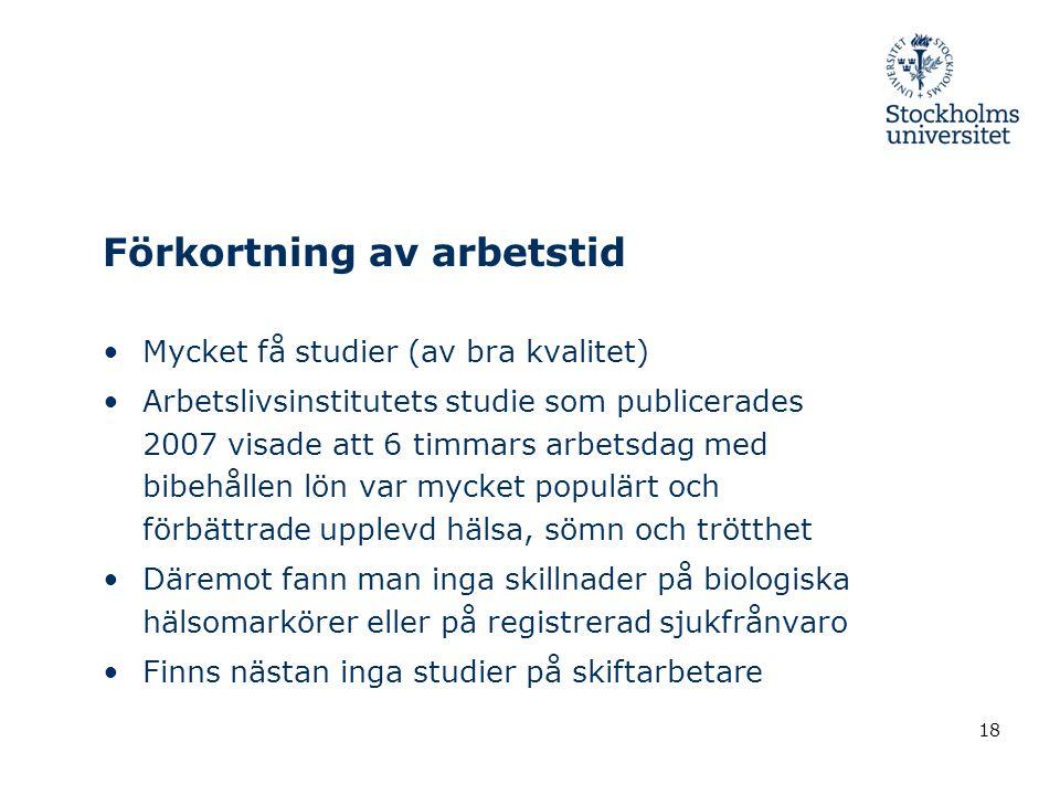 Förkortning av arbetstid •Mycket få studier (av bra kvalitet) •Arbetslivsinstitutets studie som publicerades 2007 visade att 6 timmars arbetsdag med b