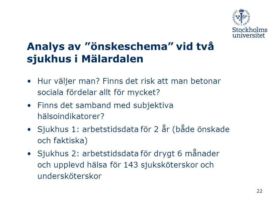 """Analys av """"önskeschema"""" vid två sjukhus i Mälardalen •Hur väljer man? Finns det risk att man betonar sociala fördelar allt för mycket? •Finns det samb"""