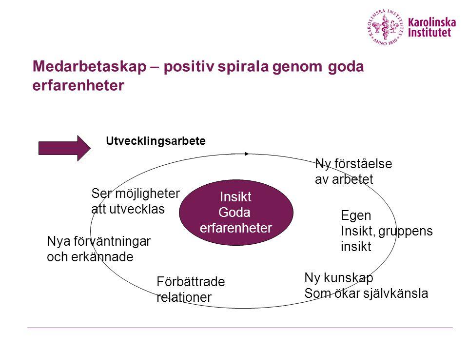 Medarbetaskap – positiv spirala genom goda erfarenheter Utvecklingsarbete Insikt Goda erfarenheter Ser möjligheter att utvecklas Ny förståelse av arbe