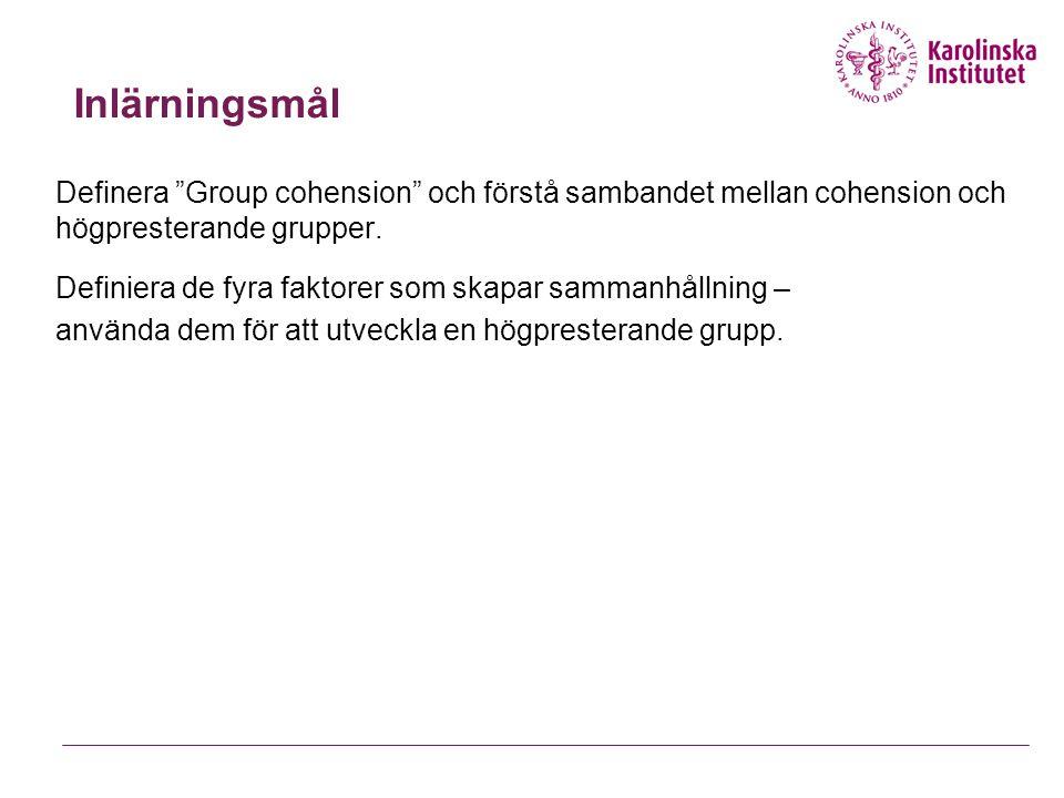 """Inlärningsmål Definera """"Group cohension"""" och förstå sambandet mellan cohension och högpresterande grupper. Definiera de fyra faktorer som skapar samma"""