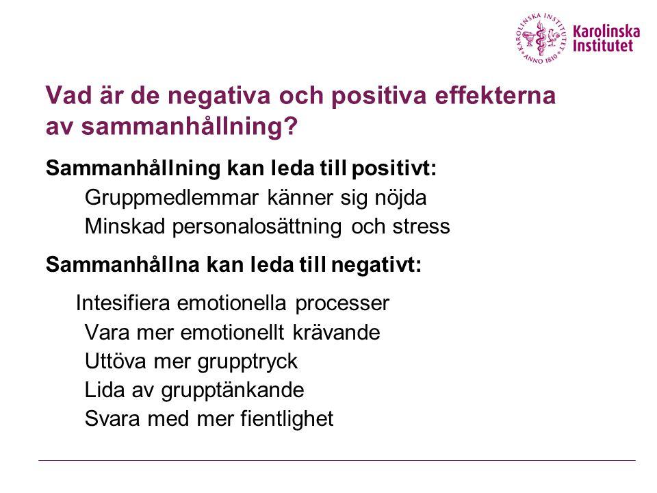 Vad är de negativa och positiva effekterna av sammanhållning? Sammanhållning kan leda till positivt: Gruppmedlemmar känner sig nöjda Minskad personalo