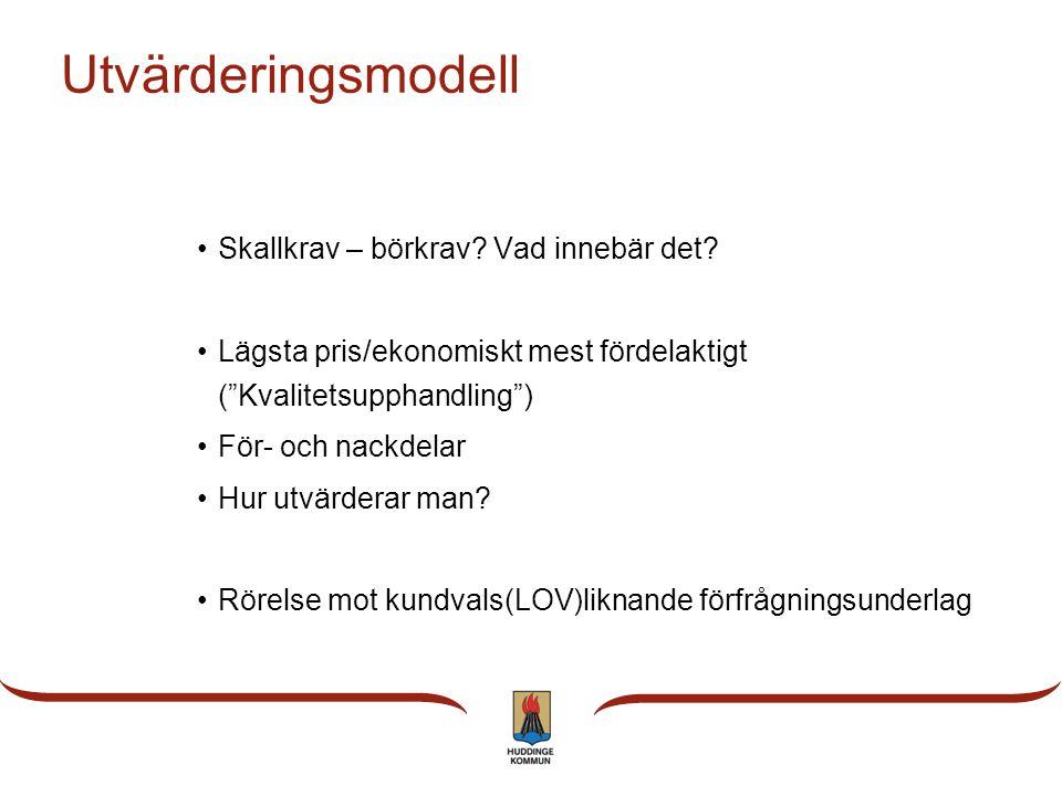 """Utvärderingsmodell •Skallkrav – börkrav? Vad innebär det? •Lägsta pris/ekonomiskt mest fördelaktigt (""""Kvalitetsupphandling"""") •För- och nackdelar •Hur"""
