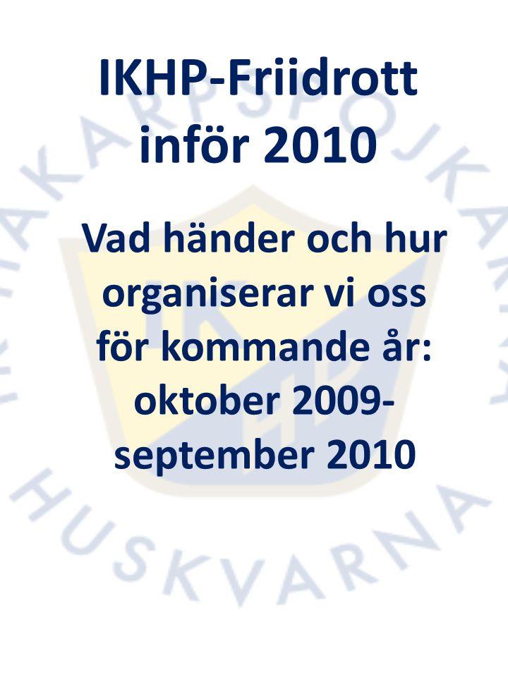IKHP-Friidrott inför 2010: Arrangemang Detta gäller för 2010: Alla som deltar i träning ordnad av IKHP- friidrott ska hjälpa till vid klubbens arrangemang vid 1-3 tillfällen per år (föräldrer eller vuxen aktiv).