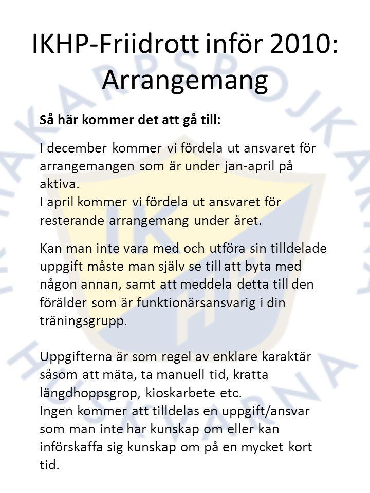 IKHP-Friidrott inför 2010: Arrangemang Så här kommer det att gå till: I december kommer vi fördela ut ansvaret för arrangemangen som är under jan-april på aktiva.